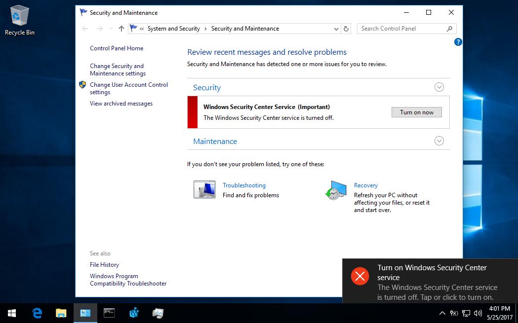 Hướng dẫn tắt hoặc xóa dịch vụ Security Center trong Windows 10
