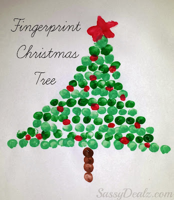 fingerprint Christmas tree craft, Christmas crafts, kids crafts