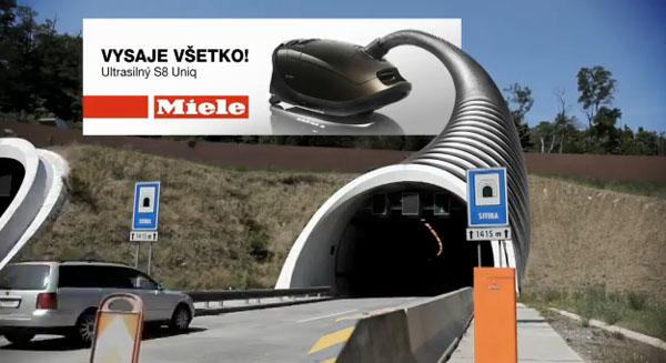 aspirador, carros, tunel, outdoor, anúncio, estrada