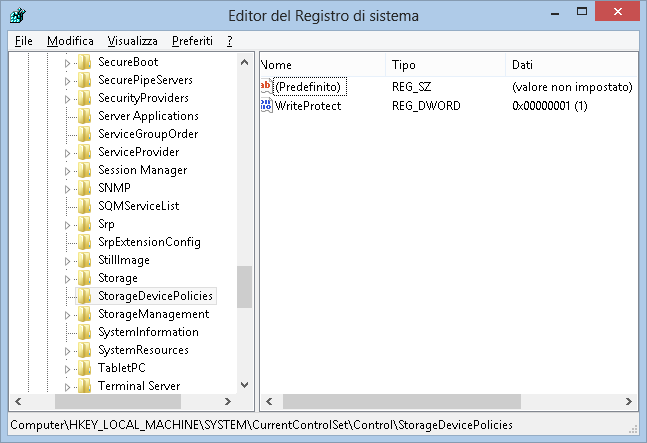 Editor del registro - valore DWORD WriteProtect