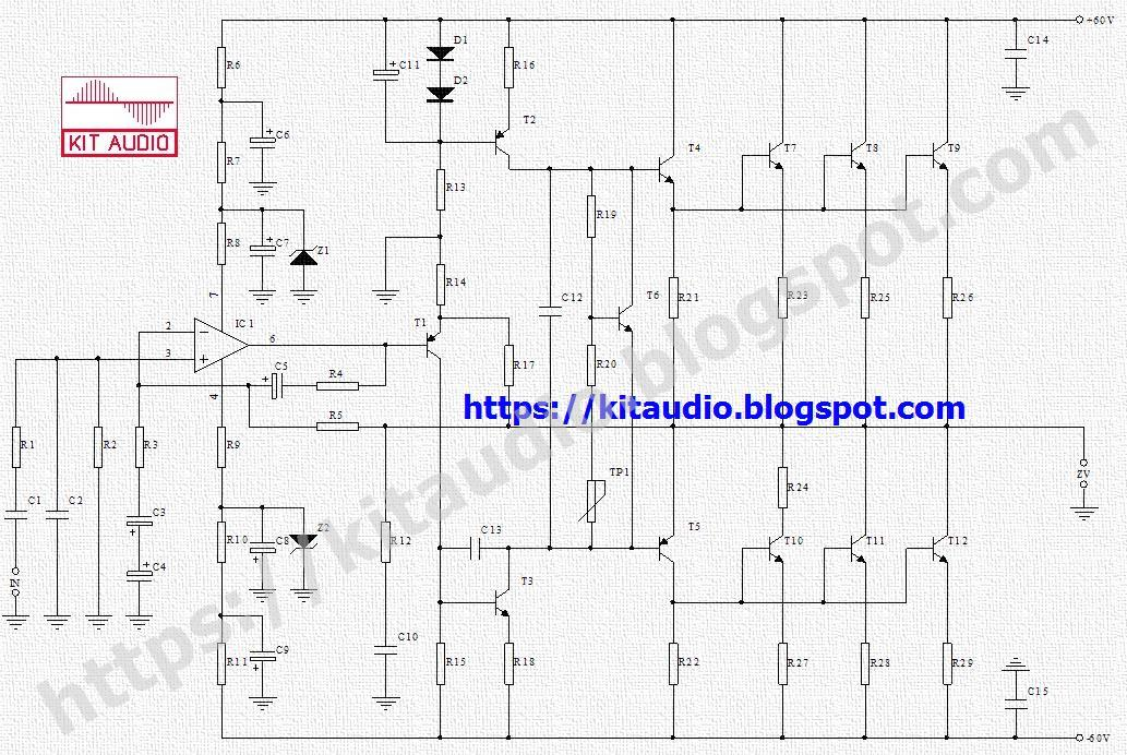 audio kit circuits: AMPLIFIER 250-500W WITH TRANSISTORS