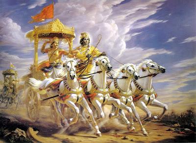 Krishna e Arjuna prima della battaglia