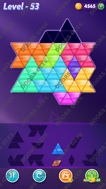 Block! Triangle Puzzle 10 Mania Level 53 Solution, Cheats, Walkthrough for Android, iPhone, iPad and iPod