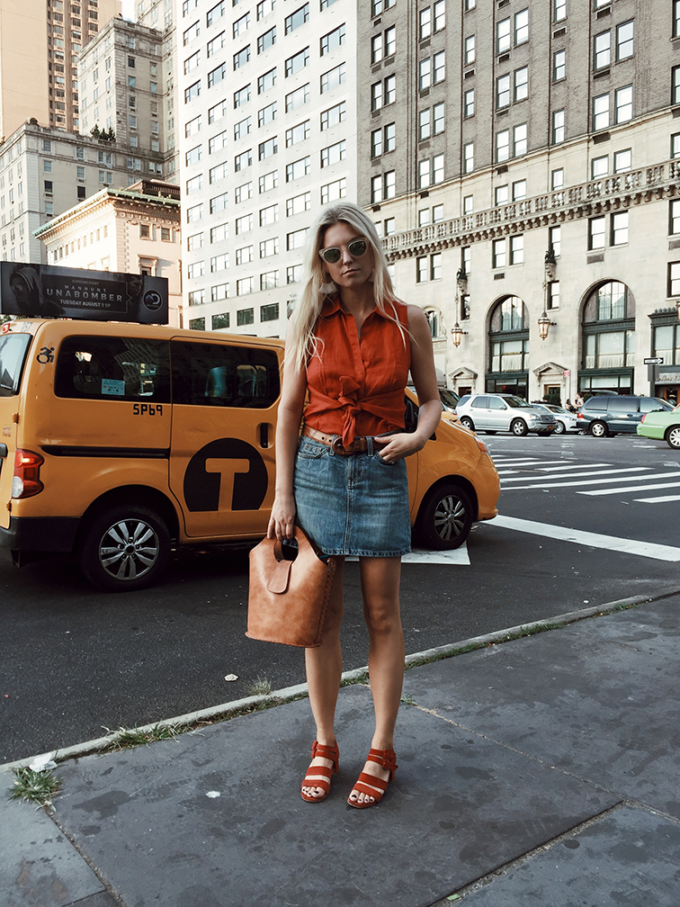 heleneisfor x davis tisdale vintage, new york city, wary parker dorothy sunglasses, gap denim skirt, marrais asa sandals