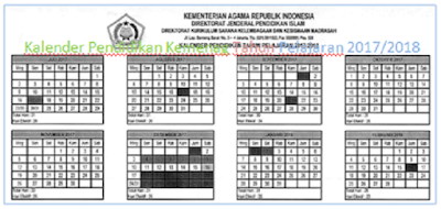 Kalender Pendidikan Kemenag Tahun Pelajaran 2017/2018