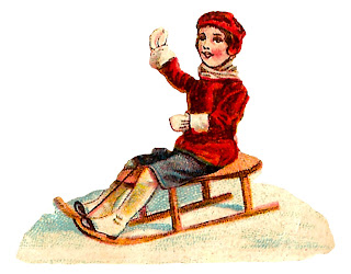 girl sledding sled winter snow image vintage illustration
