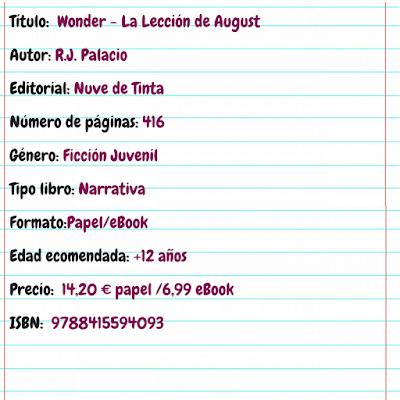 Ficha del libro Wonder