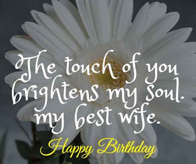 The touch of you brightens my soul. Happy birthday my best wife.