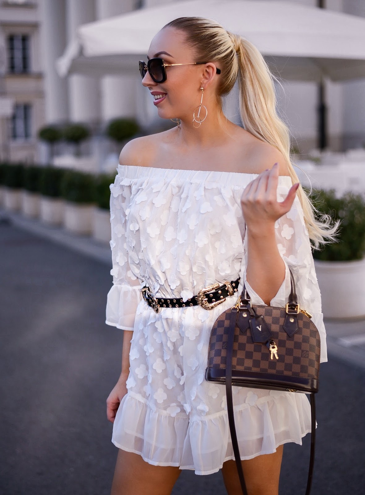 sheinside review_white playsuit_louis vuitton alma bb