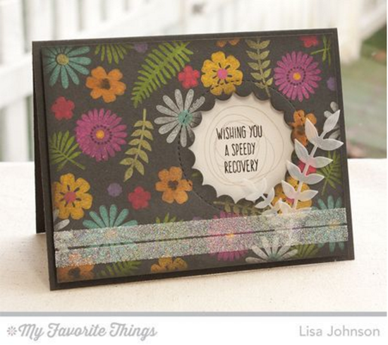 Handmade card from Lisa Johnson  featuring Lisa Johnson Designs Whimsical Wishe stamp set, Desert Bouquet stamp set and Die-namics, and Lisa Johnson Designs Peek-a-Boo Circle Windows Die-namics #mftstamps