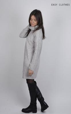 Robe Alexia Grise (robe-pull) Easy Clothes