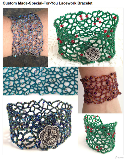 Collage of Lacework Bracelets with random right angle weave