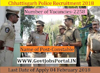 Chhattisgarh Police Recruitment 2018 – 2258 Constable