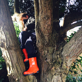 Anthony relaxing in a tree wearing his Term wellington boots.