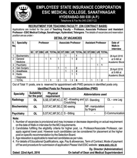 Recruitment for Teaching Faculty on contract basis in ESIC Medical College,Hyderabad|Employees State Insurance Corporation(ESIC) Recruitment for Teaching Faculty on contract basis in ESIC Medical College,Hyderabad|Employees State Insurance Corporation(ESIC) /2016/04/recruitment-for-teaching-faculty-on-contract-basis-esic-medical-college.html