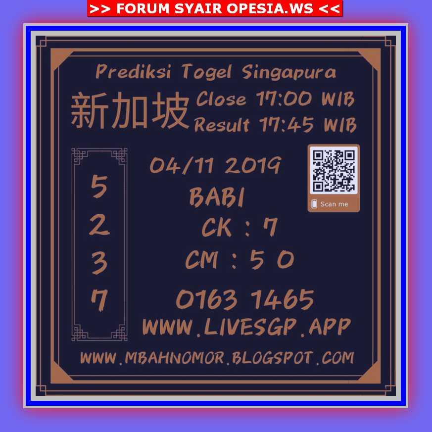 Kode syair Singapore Senin 4 November 2019 151