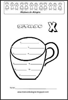 Treino ortográfico letra X de xícara