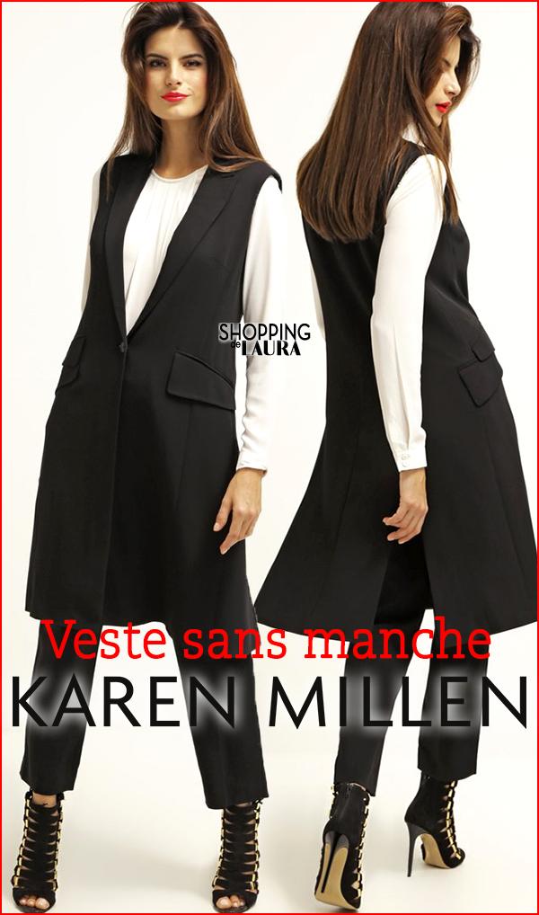 Veste longue sans manches noire Karen Millen