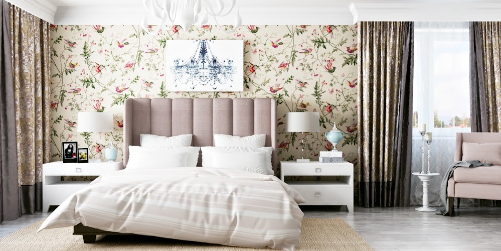 floral-wallpaper-quilted-headboard-antique-style-accent-wall-ideas-bedroom