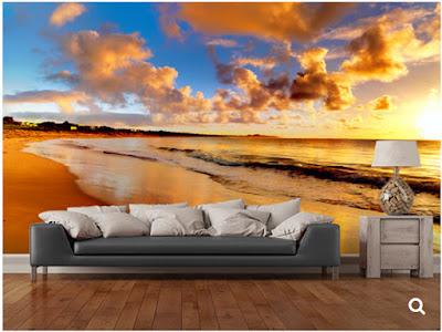 tapet natur fototapet solnedgång landskap havsutsikt hav moln strand