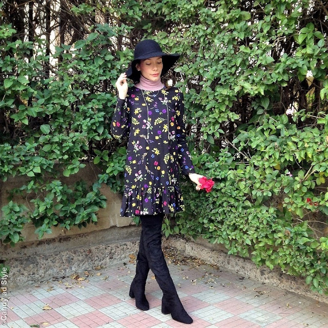 Flowers, Floral Dress, Floppy Hat, Bohemian Style