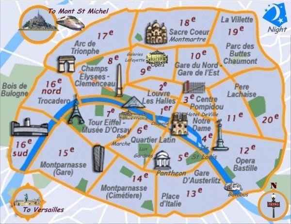 Mapa das zonas turísticas de Paris