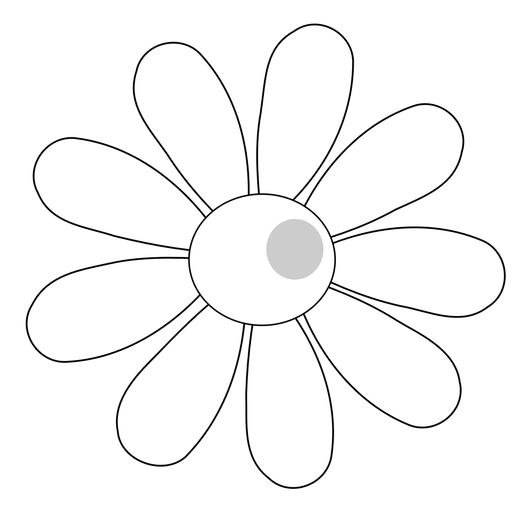 Black And White Daisy Flower Clip Art Wallpapers 1050 X 1000