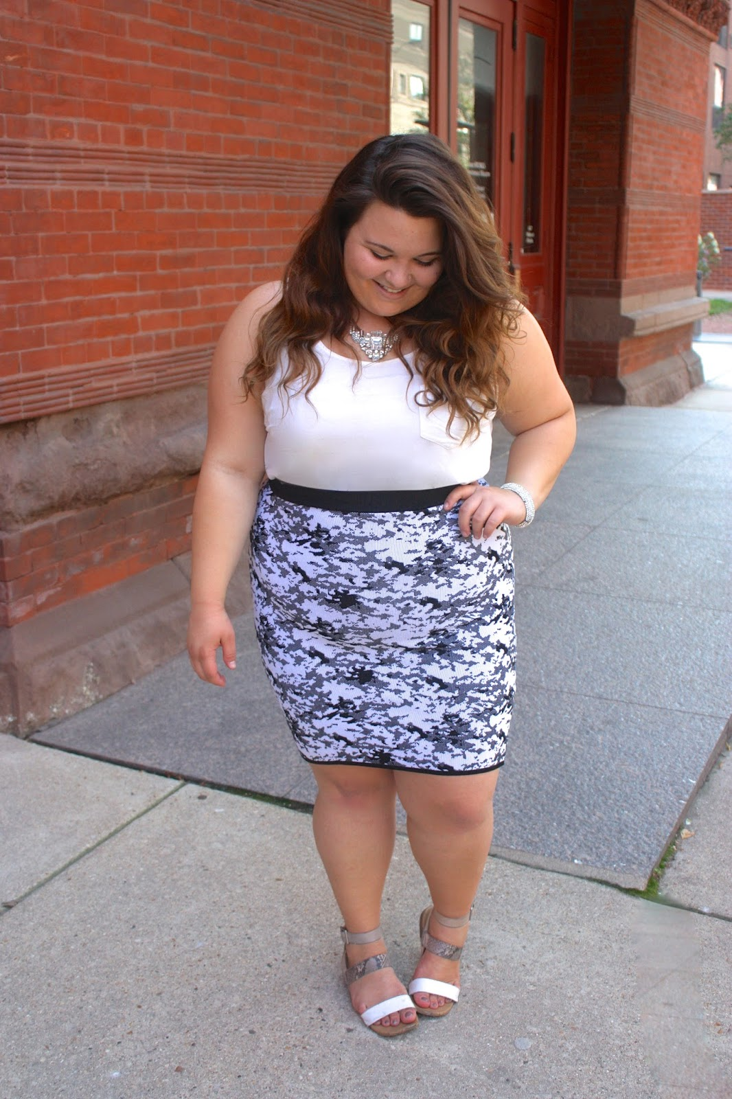 natalie in the city, natalie craig, chicago, camoflauge, monochromatic ensembles, ootd, statement jewlery, mixing patterns, forever 21, midi skirt, bandage skirt, plus size fashion, fashion blogger, ps fashion, fatshion
