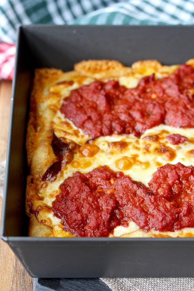 Detroit-Style Pepperoni Pizza baked in pan