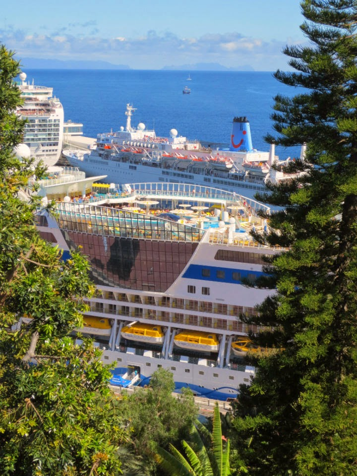 a different view to the cruise ships in Funchal port