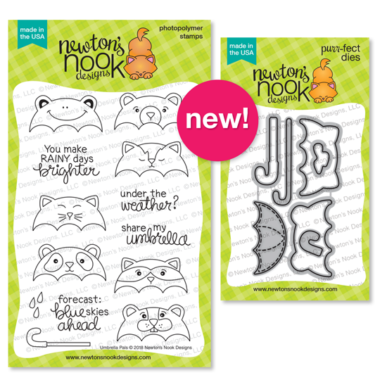 Umbrella Pals Stamp Set and Die Set by Newton's Nook Designs #newtonsnook #handmade