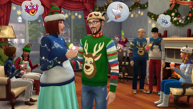 Escena de interior realizada con el pack gratuito de Navidad Los Sims 4 Felices Fiestas, fijaros en el jersey navideño tan chulo!!