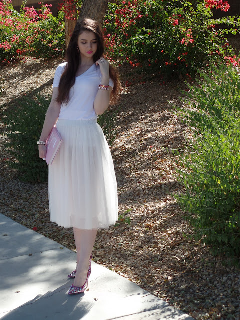 white and pink girly outfit