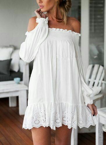 Summer chic off shoulder white Dress