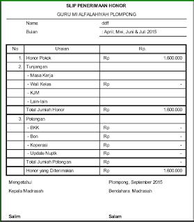 Contoh Slip Gaji Bulanan Guru Dan Tu Format Excel Sd Smp