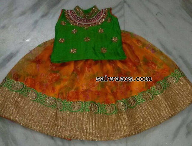 Orange Floral Lehenga with Green Blouse