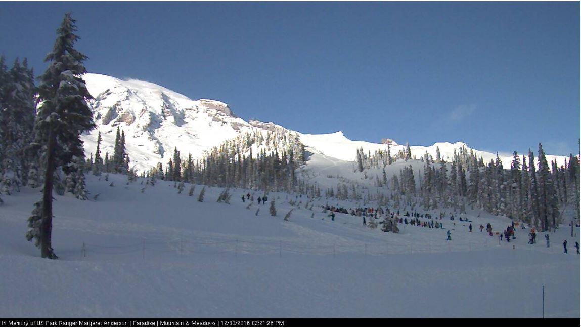Snow is piling up at Paradise on Mt. Rainier. Photo: National Park Service webcam