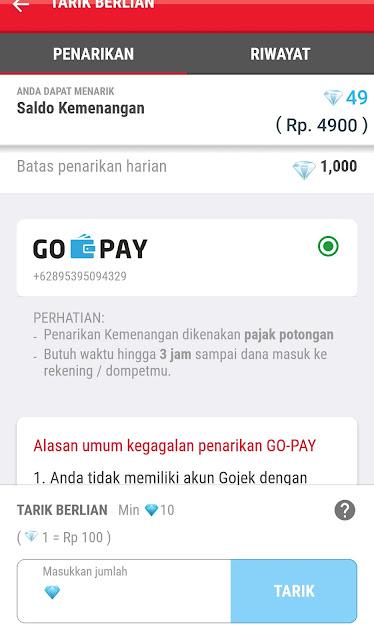 Aplikasi Penghasil Gopay tercepat