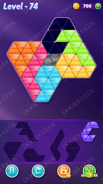 Block! Triangle Puzzle 6 Mania Level 74 Solution, Cheats, Walkthrough for Android, iPhone, iPad and iPod