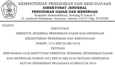SK Dirjen Dikdasmen Nomor : 374/KEP/D/KR/2016, Terbaru Tentang Penetapan Satuan Pendidikan Pelaksana Kurikulum 2013 Tahun 2016