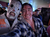 Two men dressed up as frightening things for Halloween