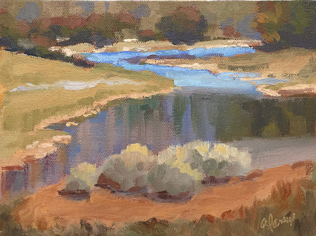 Cool and Crisp 2 landscape oil painting study 6x8 Apr 26 2019