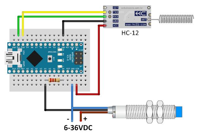 Circuito emissor com sensor indutivo, Arduino Nano e HC-12