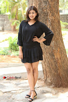 Actress Hebah Patel Stills in Black Mini Dress at Angel Movie Teaser Launch  0080.JPG