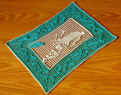 "Filet Crochet ""Desert Rabbit In A Bush"" - Handmade By Ruth Sandra Sperling - RSS Designs In Fiber"