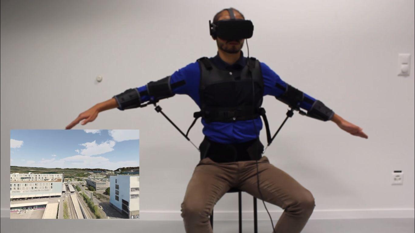 Использование костюма FlyJacket для управления дроном
