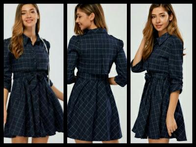 Koszula sukienka w kratkę / plaid shirt dress / Rosegal