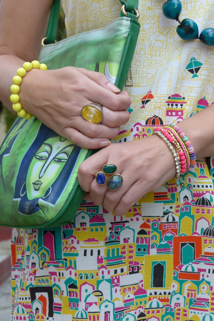 Multi colored bracelets and Ottoman Hands ring