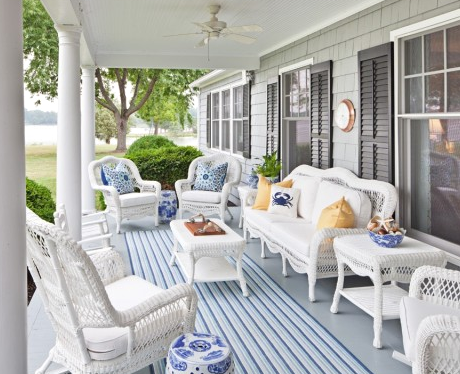 striped outdoor rug on porch