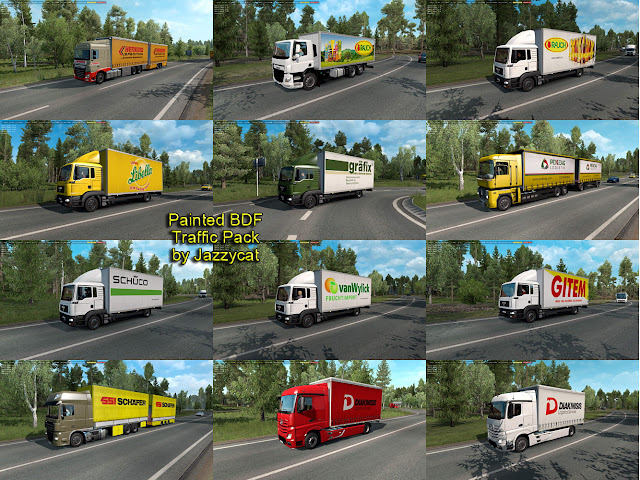 ets 2 painted bdf traffic pack v4.6 screenshots, new skins of european real companies